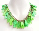 Green Beaded Necklace -  Vintage Layered Statement Costume Jewelry / Lime Leaves