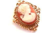 Vintage Cameo Brooch Locket - Gold Tone Filigree Victorian Revival Costume Jewelry / Secret Compartment