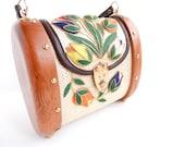 RESERVED for Lydia until 5/27 - Vintage Wooden Flower Bag - Raffia Barrel Summer Handbag / Exotic