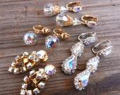 Vintage Aurora Borealis Clip On Earring Lot - Dangle Rhinestone Costume Jewelry / Fancy Sparkles