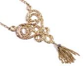 Vintage Heart Tassel Necklace - Large Lisner Statement Necklace / Filigree Love