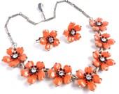 Vintage Orange Flower Necklace & Earring Set - Demi Parure Costume Jewelry / Floral Spice