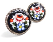 Vintage Micro Mosaic Flower Clip On Earrings - Black Scew Back Costume Jewelry Made in Italy / Intricate Roses