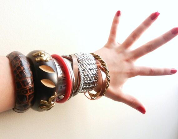 Huge Lot of Bangles - 11 Vintage Gold Silver Tone Cuff Bracelets
