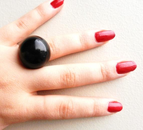 Black Statement Ring - Size 6 Lucite Costume Jewelry/ Black Magic