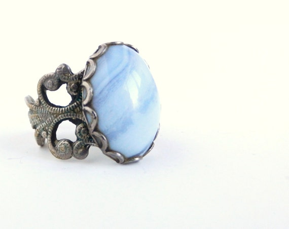 Filigree Baby Blue Stone Ring - Vintage Size 7 Silver Tone Costume Jewelry / Pacific Blue