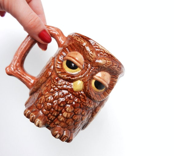Retro Owl Mug - Brown Sleepy Bird Cup / Coffee Owl