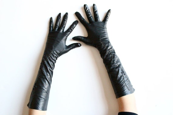 SALE - Vintage 1940s Black Leather French Cocktail Gloves - 1943 - Below Elbow - 6 3/4