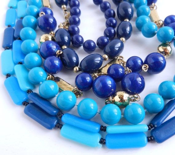Vintage Blue Beaded Necklace Lot - 5 Lucite Necklaces / Ocean Beads