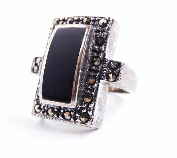 Onyx & Marcasite Ring -  Vintage Size 7 Sterling Silver Jewelry / Rectangle Noir