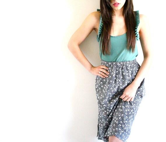 1980s Geometric Patterned High Waist Skirt - Small / Medium