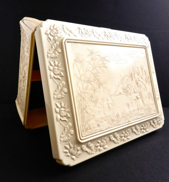 Celluloid Asian Jewelry Box - Vintage Large Ivory Off White Sewing Box / Ornate Oriental