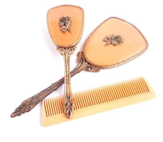 Vintage Vanity Set - Golden Hair Brush, Hand Mirror, & Comb Circa 1950 / Rustic Beauty