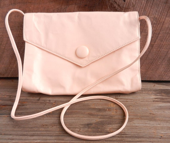 Vintage Leather Pale Pink Purse - Genuine Leather Across Body Envelope Bag  / Light Peach