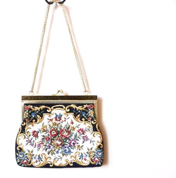 RESERVED FOR MMVINTAGE Vintage Tapestry Purse - Black & White Floral Handbag  / Garden Swirls