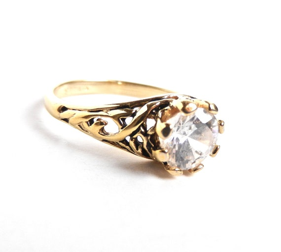 Vintage Filigree CZ Ring - Vintage Gold Tone Signed Cocktail Ring / Sophisicated Solitaire