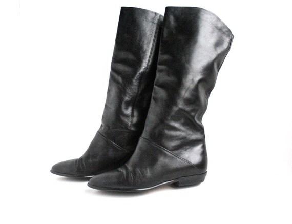 Vintage Black Leather 1970s Boots / Size 5