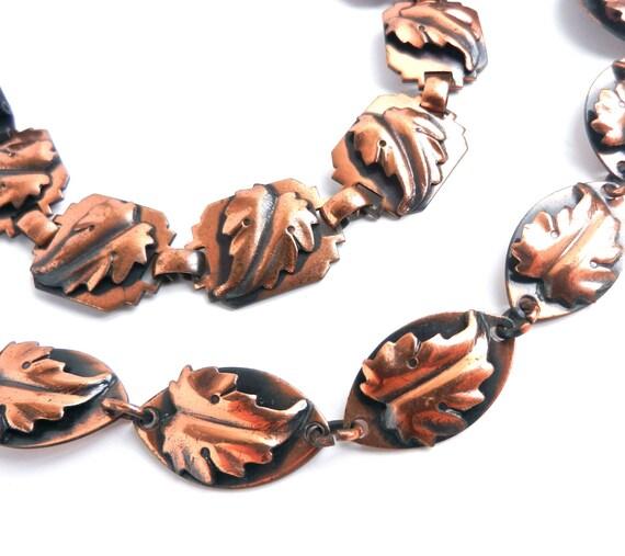 SALE - Vintage Copper Leaf Necklace & Bracelet  - Matching Fall Costume Jewelry Set / Leafy Autumn Demi Parure