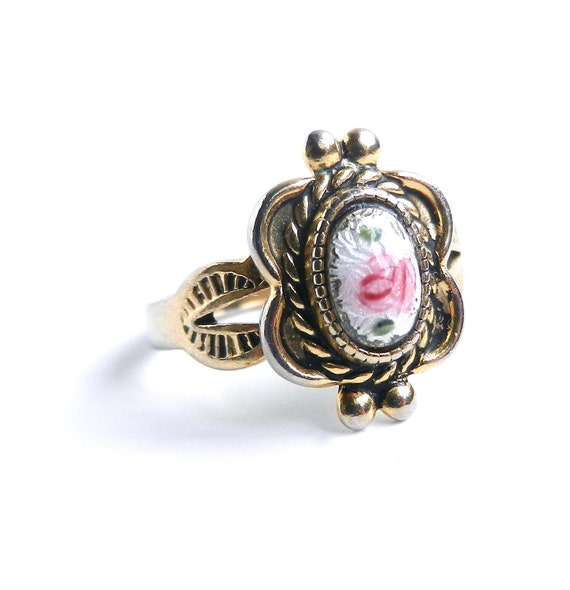 Vintage Rose Ring -  Size 3 18K HGE Glass Rose ESPO Costume Jewelry  / Love