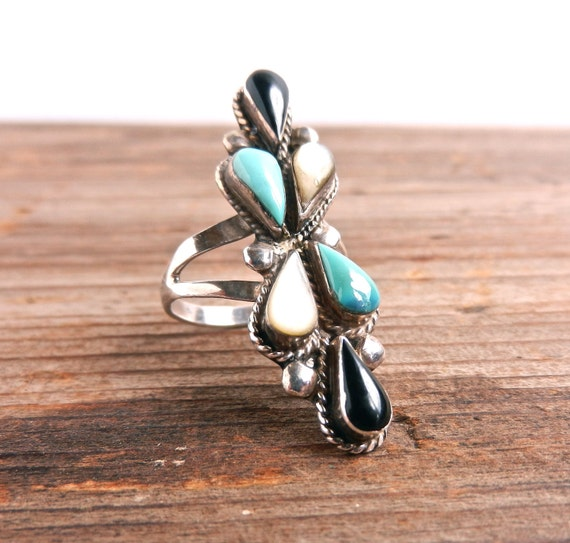 Sterling Silver Statement Stone Ring - Vintage Size 6 Black, Teal, White Stone Jewelry / Height