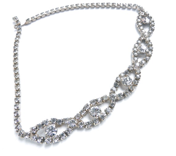 Vintage Rhinestone Necklace - Mid Century Silver Tone Choker Necklace / Hollywood Accents