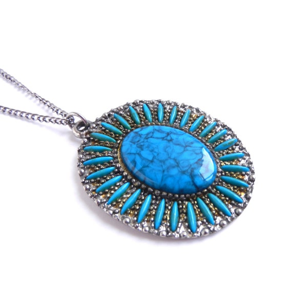 Vintage Faux Turquoise Necklace - Petite Point Teal Blue Costume Jewelry / Southwestern Statement