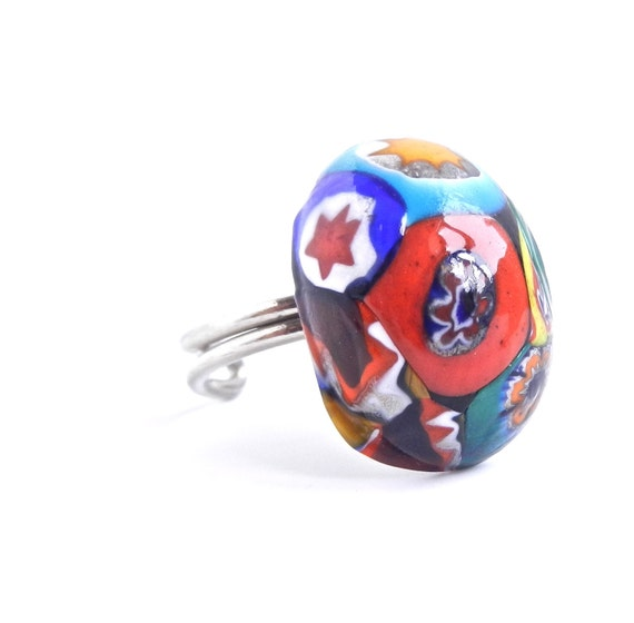 Artistic Millefiori Glass Stone Ring - Vintage Silver Tone Colorful Costume Jewelry  / Funky Flowers