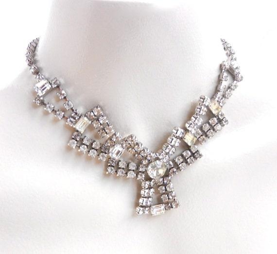 Large Statement Vintage Silver Tone Rhinestone Necklace / 1950s