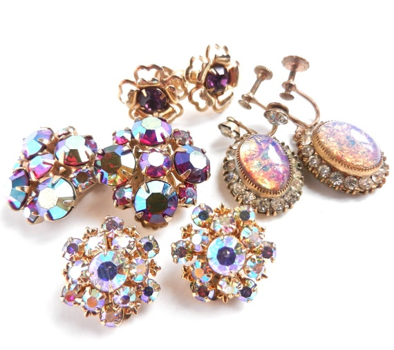 Vintage Aurora Borealis Clip On Earring Lot - 1950s Gold Tone Costume Jewelry / Purple Sparkles