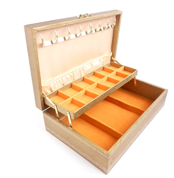 Golden Vintage Jewelry Box With Orange Lining