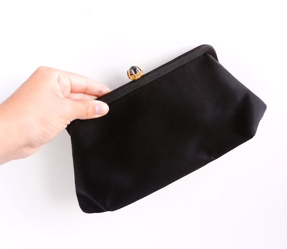 Vintage Black Clutch with Black Glass Stone / 1960s