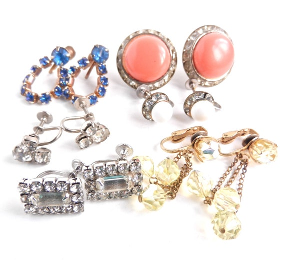 Vintage Rhinestone Clip On Earring Lot - Colorful Screw Back Costume Jewelry / Sparkly Accessories