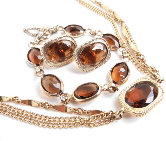 Sarah Cov Jewelry Set - Vintage Necklace, Bracelet, & Clip On Earring Parure - Gold Tone Brown Glass Costume Jewelry / Amber