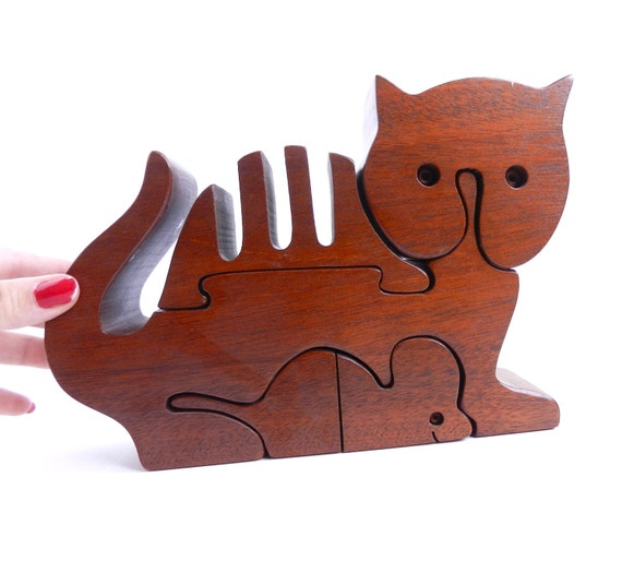 SALE - Vintage Wooden Cat Puzzle - Natural Handmade Dark Wooden Kitty & Mouse / Geometric Pet