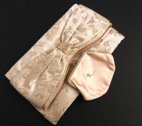 Vintage Gold Clutch - Designr HL Rose Satin Purse / Big Bow Bag