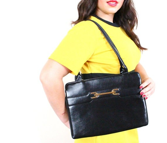 Black Bag - Vintage 1960s Thin & Sleek Structured Purse / Classy Tote