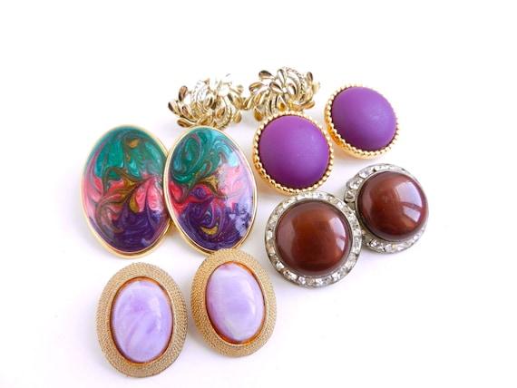Clip On Earring Lot - 5 Pairs of Vintage Purple Earrings, Rhinestone, Enamel, Gold & Silver Tone