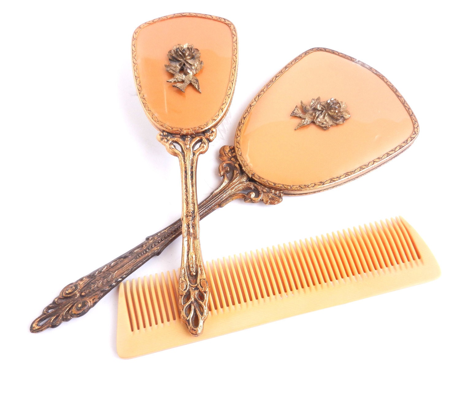 Vintage Vanity Set Golden Hair Brush Hand Mirror Amp Comb
