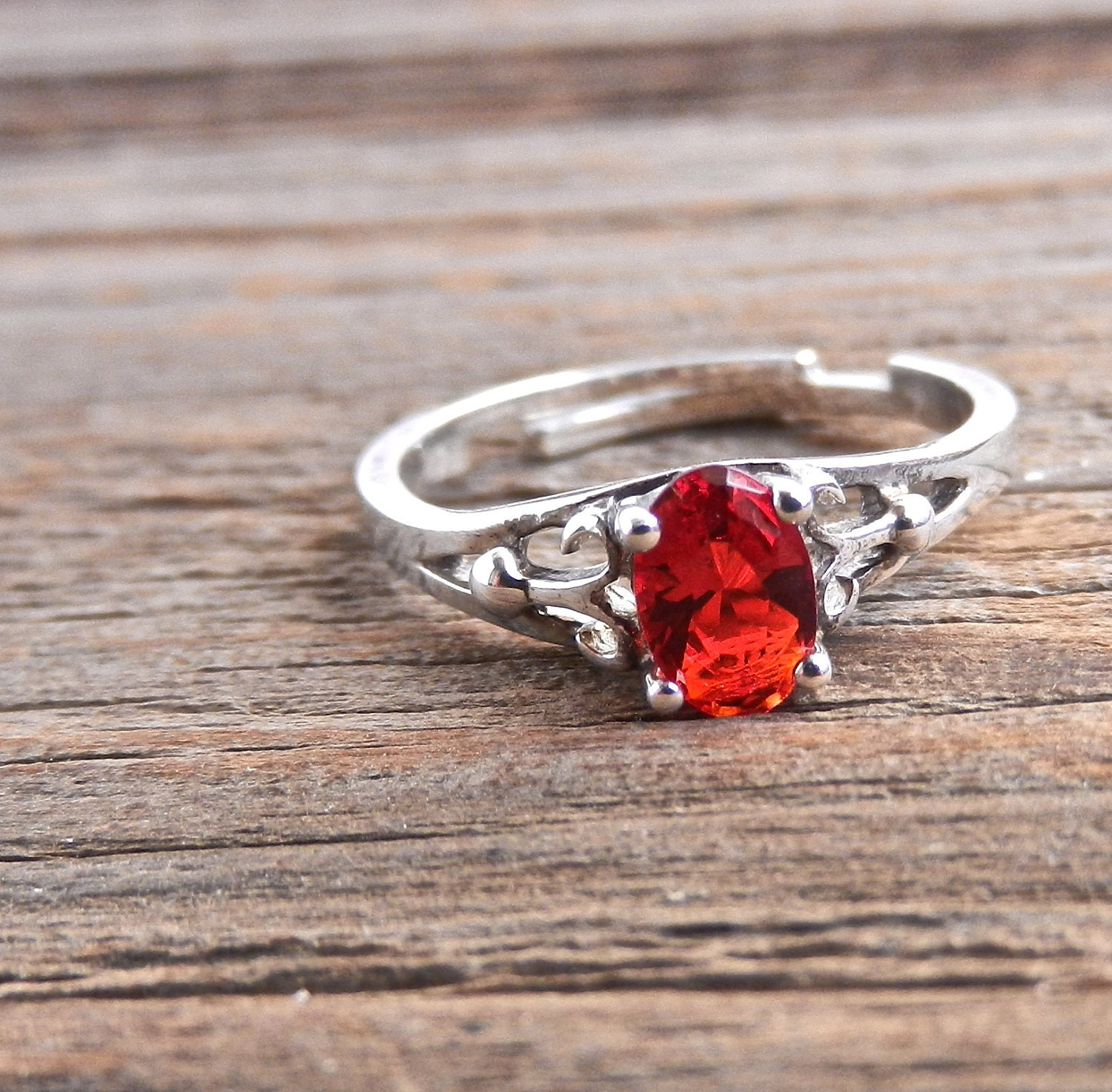 Silver Red Granite : Vintage sterling silver red stone ring dainty by