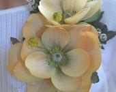 Golden Flower Brooch or Corsage (B117)
