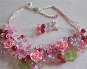 Handcrafted Pink, Burgundy, Rose Crystal Choker Set  (N100)