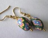 Handmade Easter Egg Oval, Pink, Blue, Yellow Earrings (E115)
