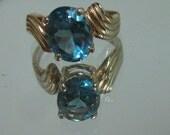 Blue Topaz 14K Gold Swirl Twist Ring (R111)