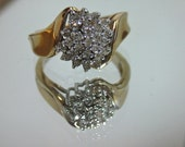 Vintage 10K Solid Gold Diamond Cocktail Ring (VS136)