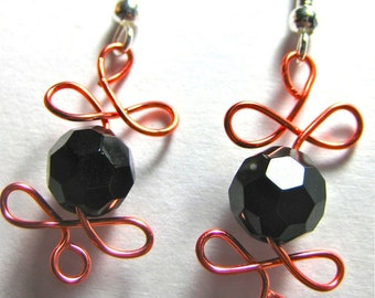 Handmade orange and Black Free Form Autumn, Fall, Thanksgiving Earrings (E307)