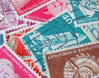 Rainbow of German Industry 50 Vintage German Postage Stamps Germany 1970 Deutschland Deutsche Bundespost Technology Worldwide Philately