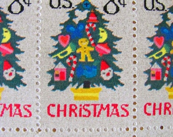 Oh Christmas Tree 12 Vintage UNUsed US Postage Stamps Embroidered Seasons Greetings Needlepoint XMas Tree 8 c 1973 Ornaments Philately