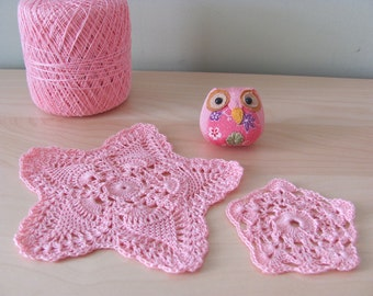 2 Lacy Pretty Pink Starfish Handmade Crochet Starshaped Doily 7 inch Coaster Applique Embellishment Victorian Cottage Chic Lace Decorations