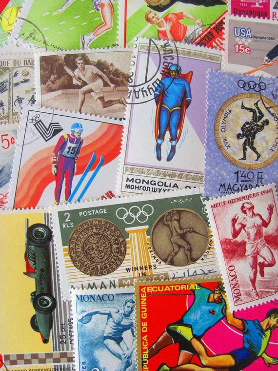 Get In Shape Girl 50 Vintage US and Worldwide Postage Stamps Philately Sports Olympics Exercise Fitness Work Out