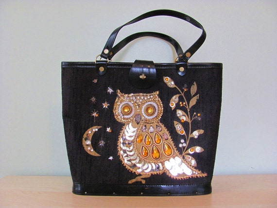 Vintage Antique Shabby Chic 50s Glamourous Golden Sequin Embellished Owl Mod Black Linen Pleather Purse Handbag Bookbag